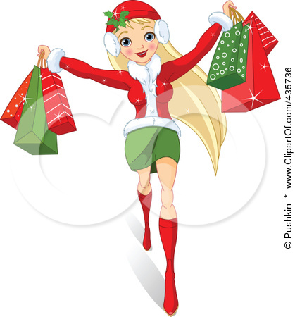 Women Christmas Shopping Clipart To Go Christmas Shopping