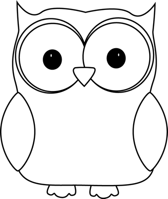 Black And White Owl Clip Art Image   White Owl With A Black Outline