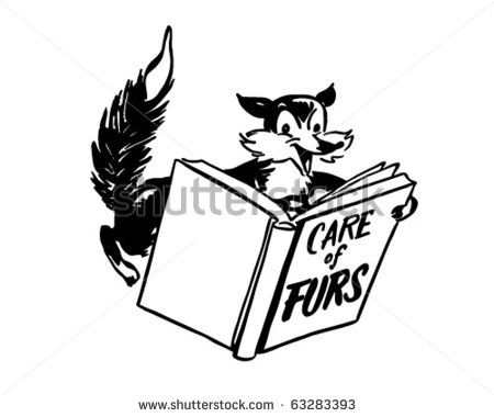 Care Of Furs   Fox Reading A Book   Retro Clipart Illustration