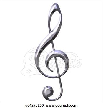 Clip Art   3d Silver Treble Clef  Stock Illustration Gg4278233