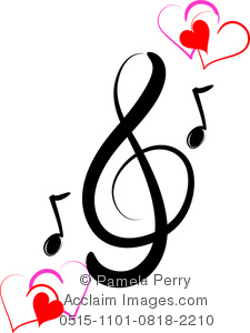 Clip Art Image Of A Music Design Of Notes A Treble Clef And Hearts