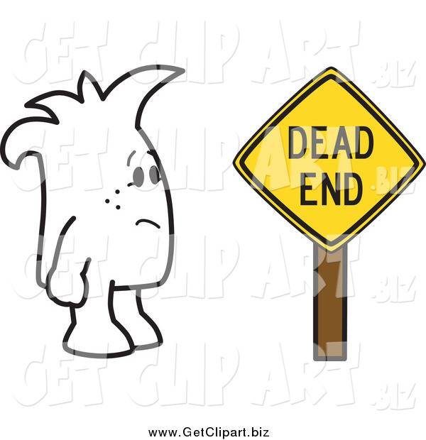 Clip Art Of A Squiggle Guy And A Dead End Sign By Toons4biz    50150