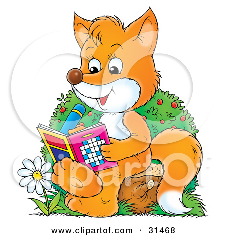 Clipart Illustration Of A Smart Fox Sitting On A Tree Stump By A