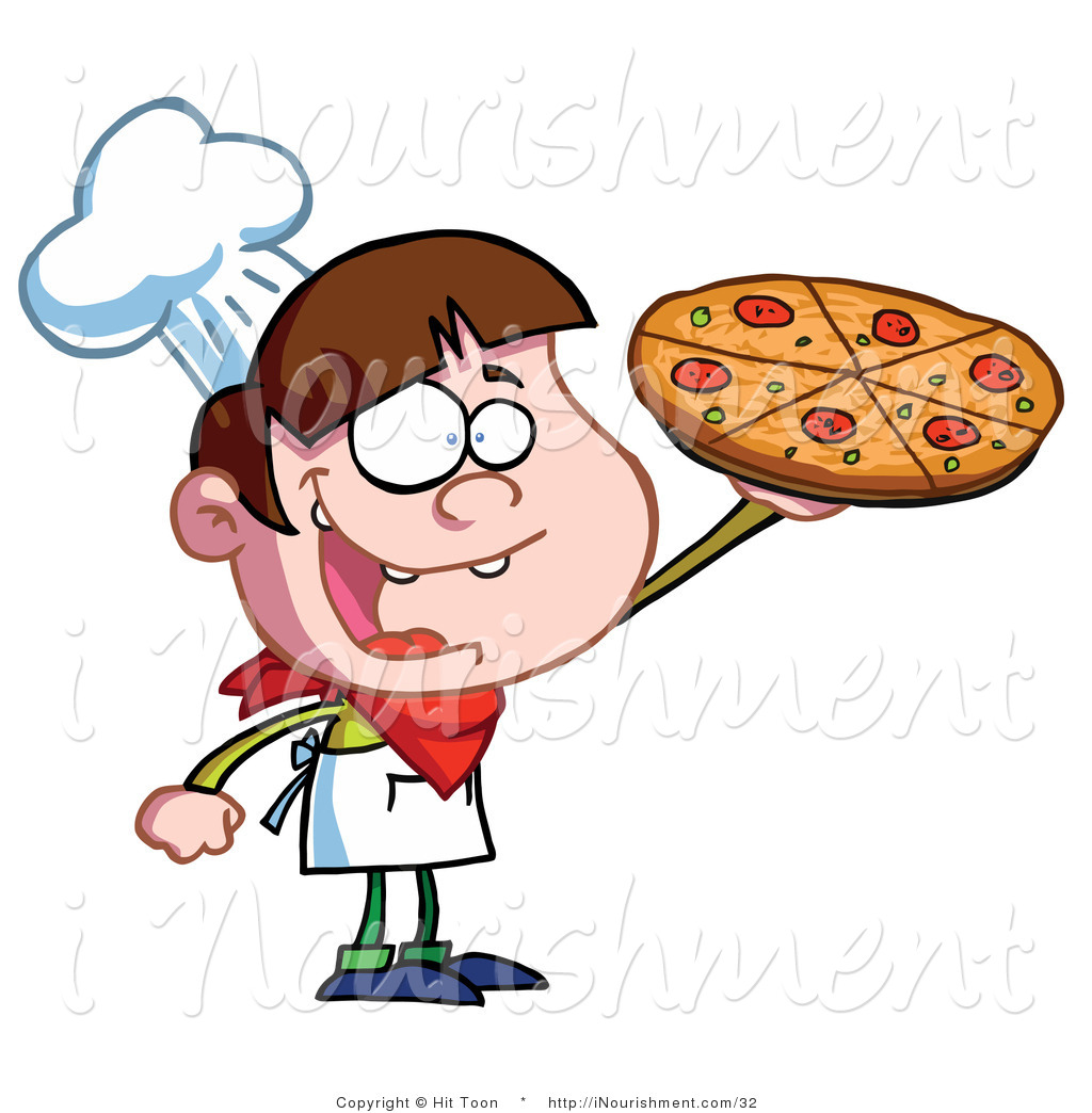 Clipart Of A Little Pizza Boy Chef Holding Up His Perfect Pepperoni