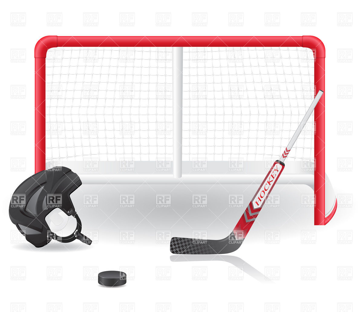 Empty Ice Skating Rink Clip Art Hockey Goals Helmet And Stick