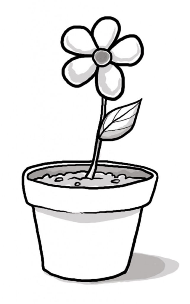 Flower Pot Black And White Clipart - Clipart Kid