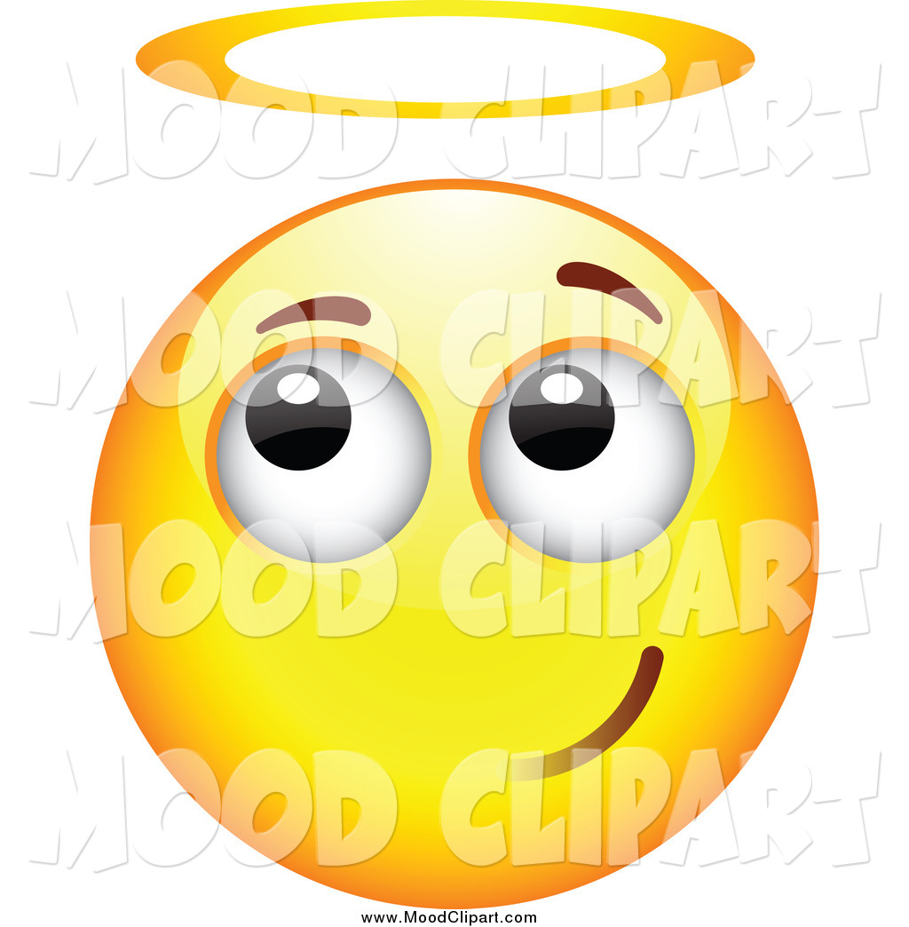 Mood Clip Art Of A Innocent Angel Smiley Emoticon Face With A Halo
