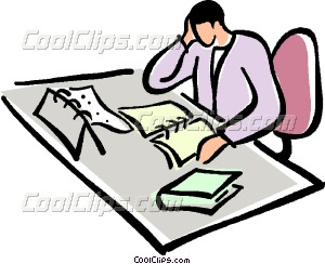 Office Clerk Working At His Vector Clip Art