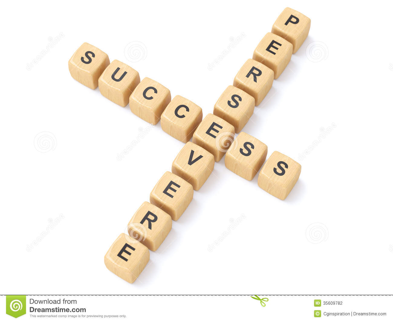Persevere And Success Crosswords Stock Photography   Image  35609782