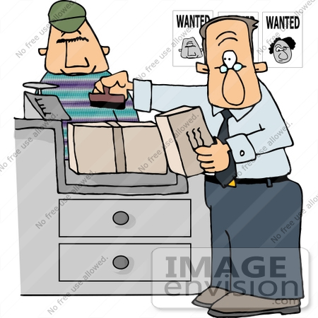 Postal Clerk Man Assisting A Wanted Criminal Clipart    14791 By Djart