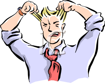 Royalty Free Clip Art Image  Frustrated Man Pulling His Hair Out