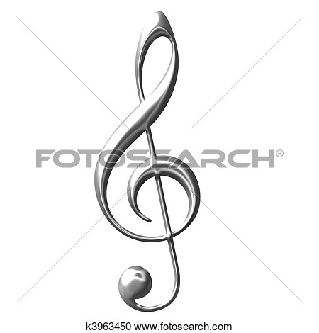 Stock Photography   3d Silver Treble Clef   Fotosearch   Search Stock
