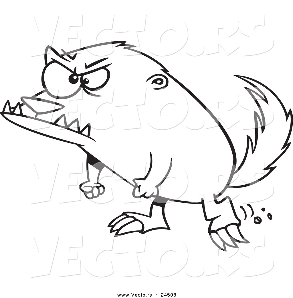 Vector Of A Cartoon Angry Honey Badger   Outlined Coloring Page By Ron
