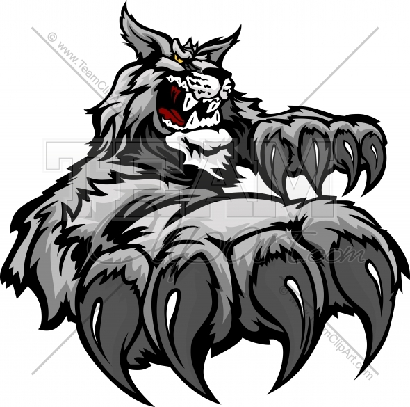 Wildcat Cartoon Mascot With Claws Vector Illustration   Team Clipart