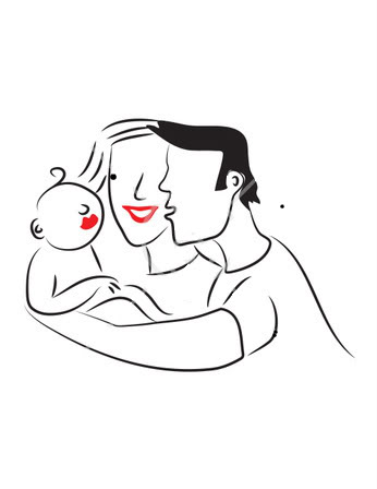 83595 Royalty Free Rf Clipart Illustration Of A Line Drawn Mom And Dad