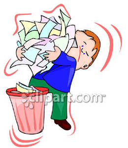 An Armload Of Paper In A Trash Can   Royalty Free Clipart Picture
