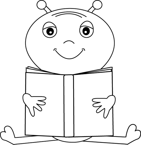 Black And White Alien Reading A Book Clip Art   Black And White Alien