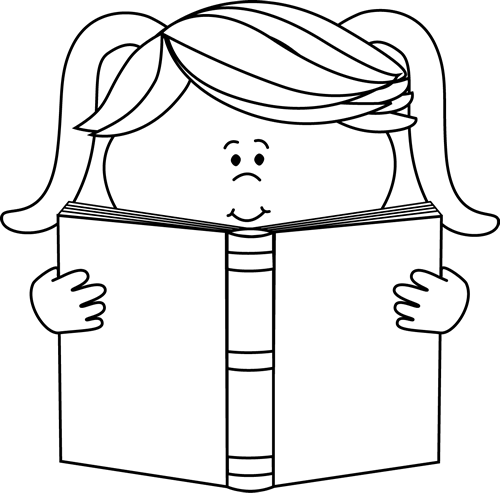 Black And White Little Girl Reading A Book Clip Art   Black And White