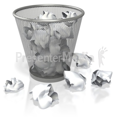 Garbage Can Filled With Paper   Presentation Clipart   Great Clipart