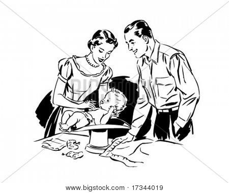 Mom And Dad Weighing Baby   Retro Clip Art Stock Vector   Stock Photos