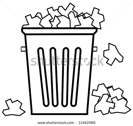 Outline Of Garbage Can Overflowing With Trash   Vector   11462566