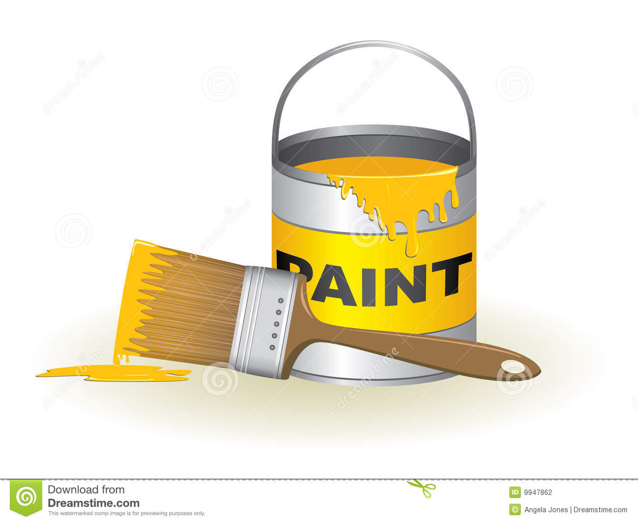Paint Bucket And Brush Illustration  Please Check My Portfolio For