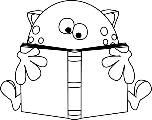 Free Reading Clipart Black And White: Reading Book Black And White Clipart