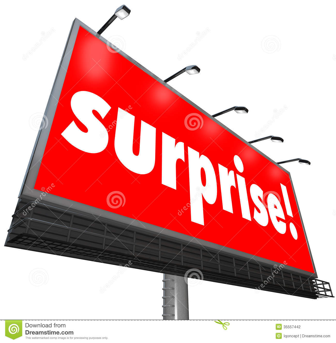 The Word Surprise On A Red Outdoor Billboard Or Banner Sign To
