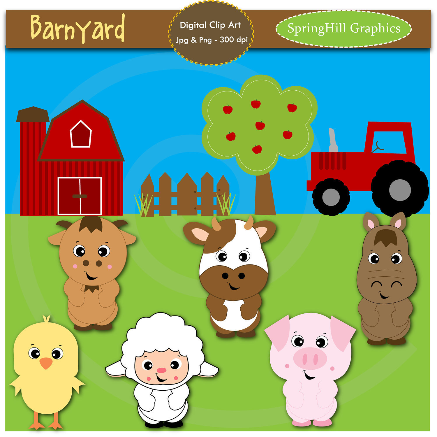 Unavailable Listing On Etsy: Postcard Farm Clipart