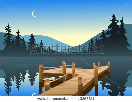 An Outdoor Scene Of A Fishing Dock On A Quiet Lake  The Moon Can Be