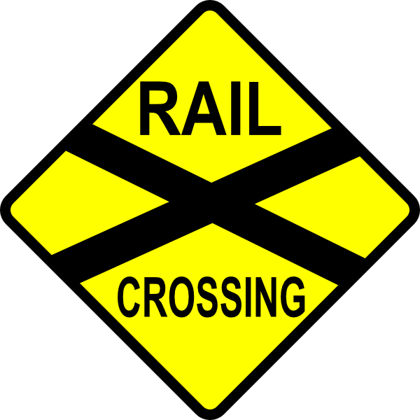 Caution Railroad Crossing Clip Art At Clker Com   Vector Clip Art