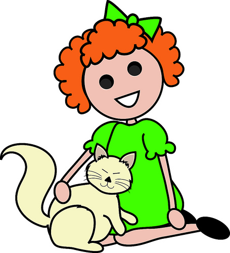 Clip Art Illustration Of A Red Haired Cartoon Girl Sitting With Her
