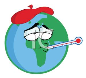 Clipart Image Of Planet Earth With A Thermometer And Ice Pack