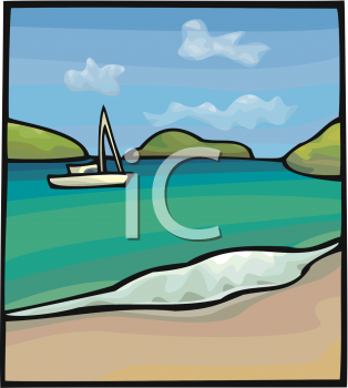 Clipart Picture Of A Scene Of A Boat On The Water