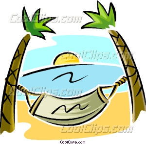 Hammock Between Two Palm Trees Vector Clip Art