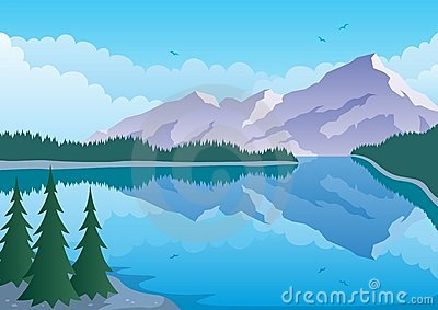 Illustrated Landscape Of   Mountain And Lake  No Transparency Used