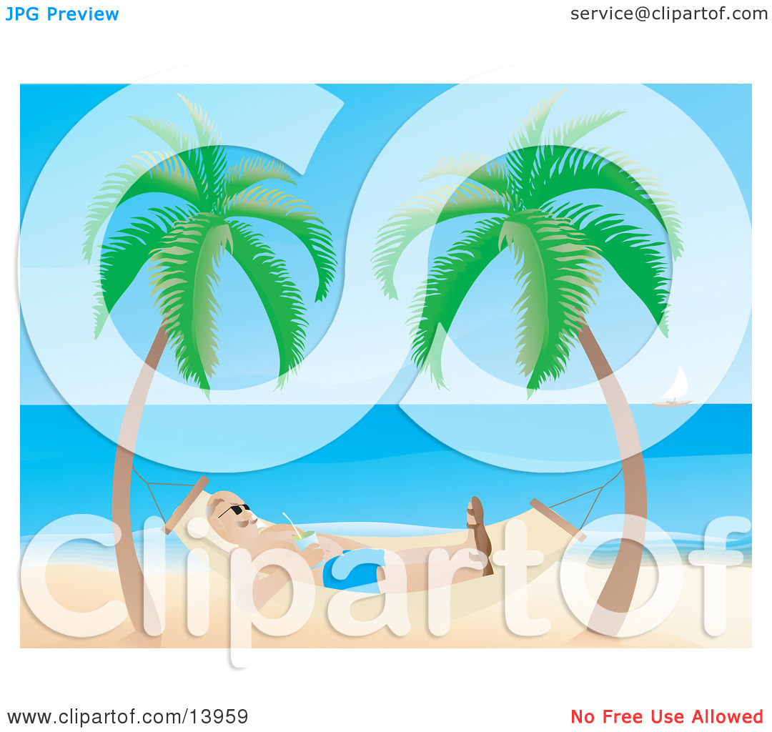 Man Relaxing In A Hammock On A Tropical Beach Clipart Illustration By