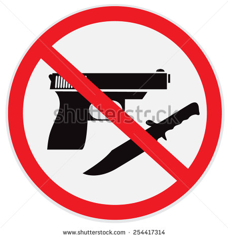 No Weapon Allowed Prohibited Sign Clip Art   Stock Photo