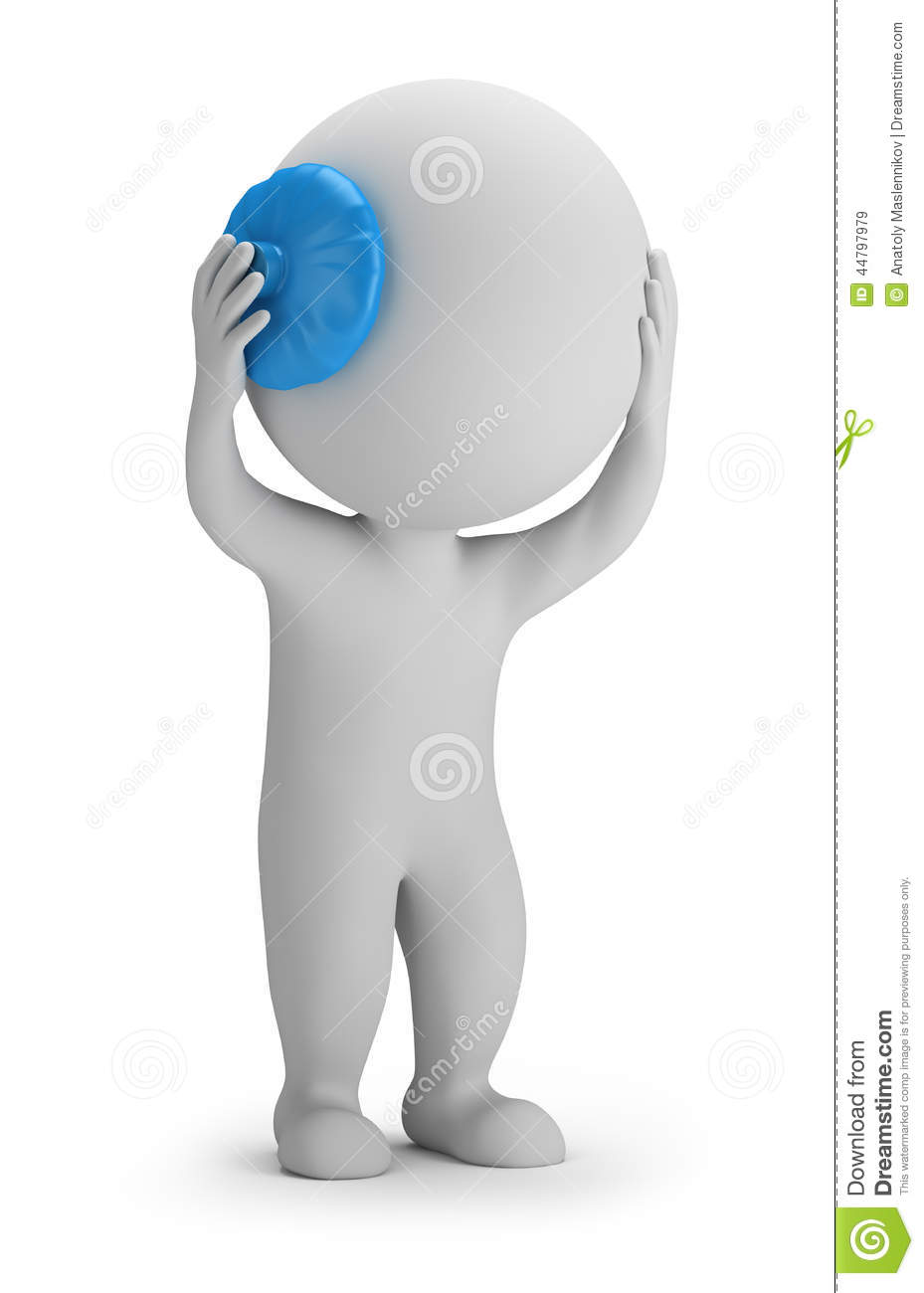 Person Holding His Head On The Ice Pack  3d Image  White Background
