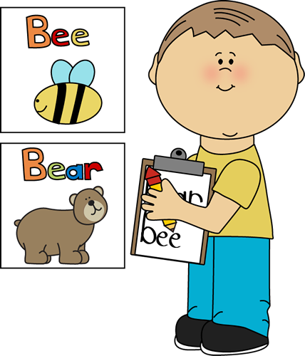 The Room Center Clip Art Image   Boy With A Clipboard Writing Words
