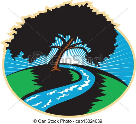Vectors Of Pecan Tree Winding River Sunrise Retro   Illustration Of A