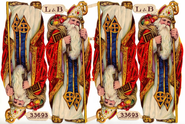 An Attached Sheet Of St  Nicholas Figures By German Mfg L B C1900