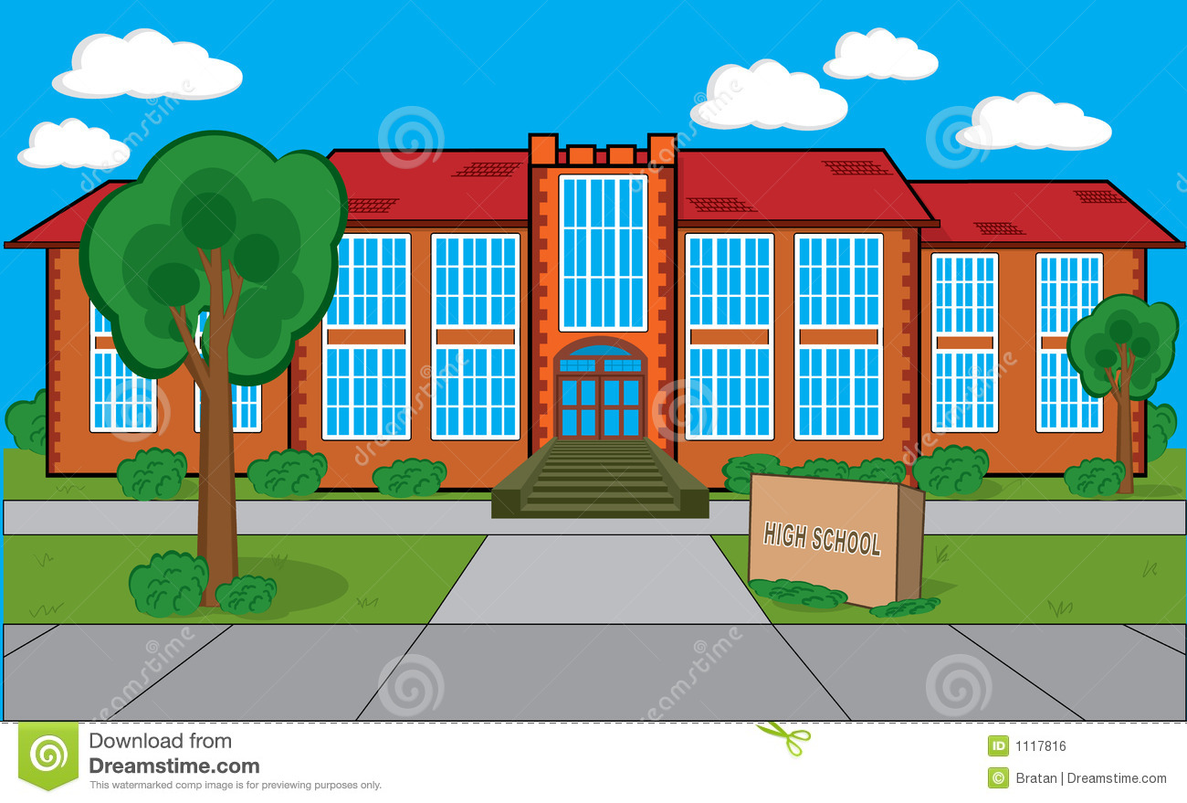 Building With Grass Trees Bushes Etc  Could Be A High School