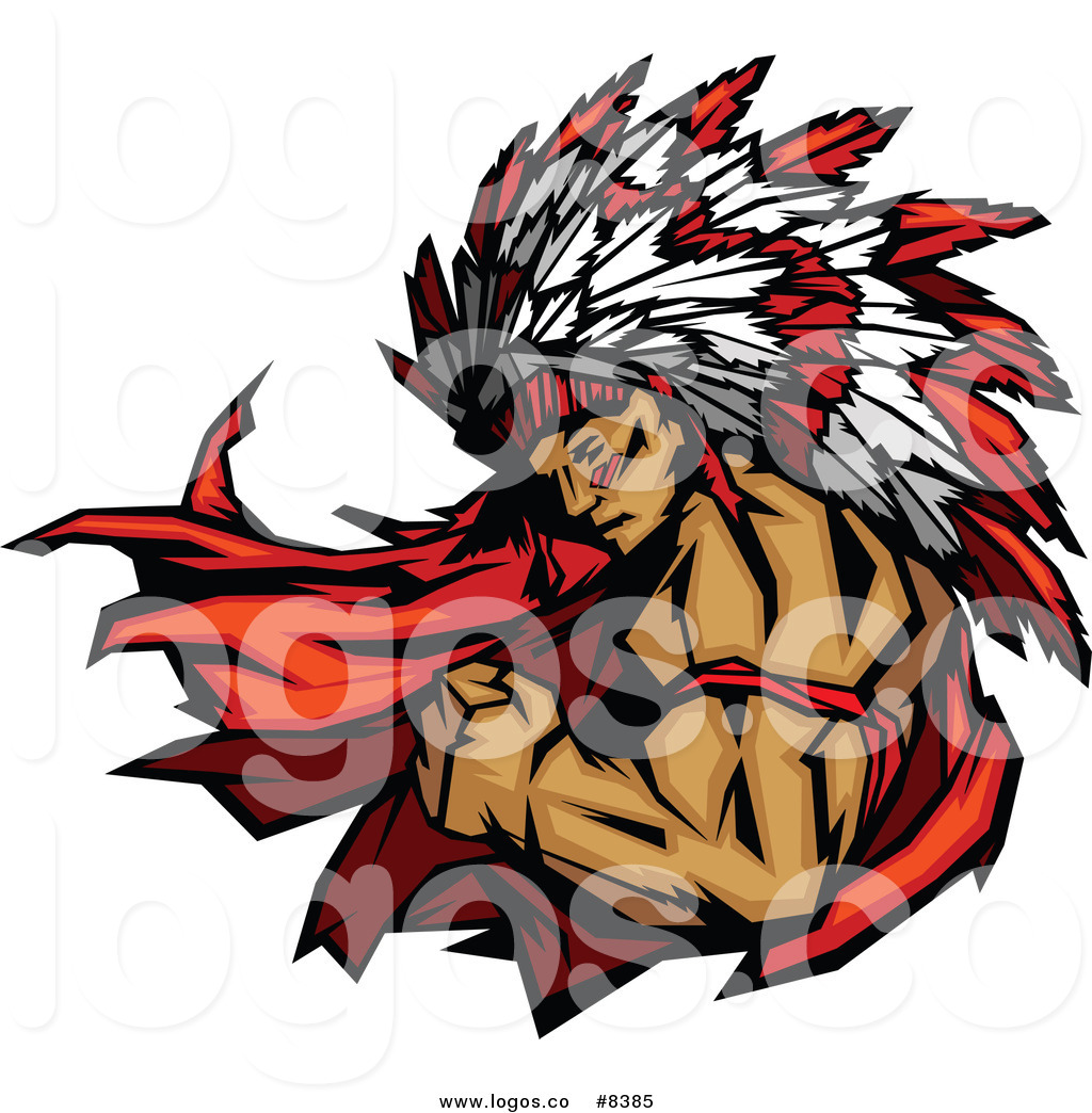 Chief Flexing His Biceps Logo Logo Of A Native American Indian