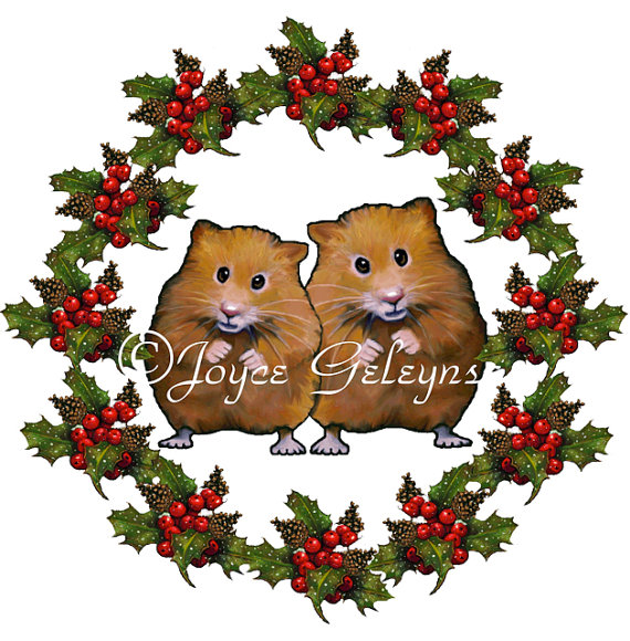 Clip Art Christmas Wreath With Cute Hamster Couple  Freehand Art Jpg