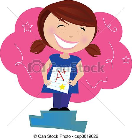 Clip Art Vector Of Child Dreaming About Good Grades   School Superstar