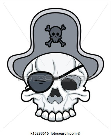 Clipart   Pirate Eye Patched Tattoo Skull  Fotosearch   Search Clip