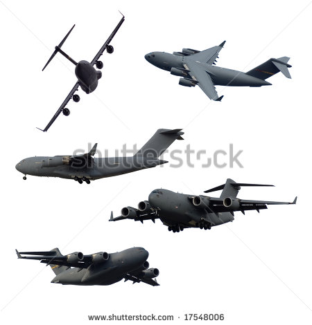 Collection Of Isolated C 17 Military Airplanes Stock Photo 17548006