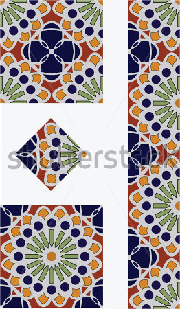 Flower Talavera Style Tile Vector Design With 1 4 1 2 And Full Tile
