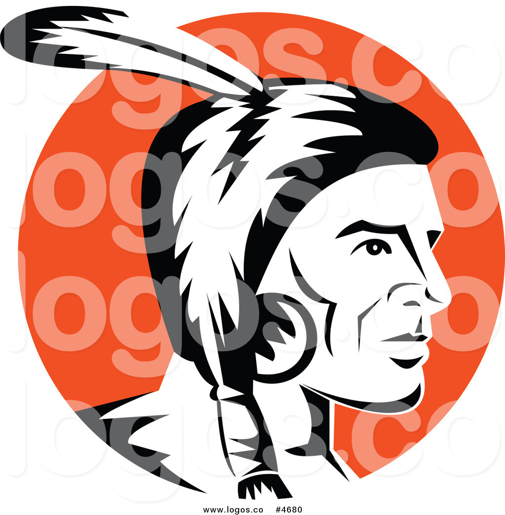 Free Clip Art Vector Logo Of A Black And White Native American Indian